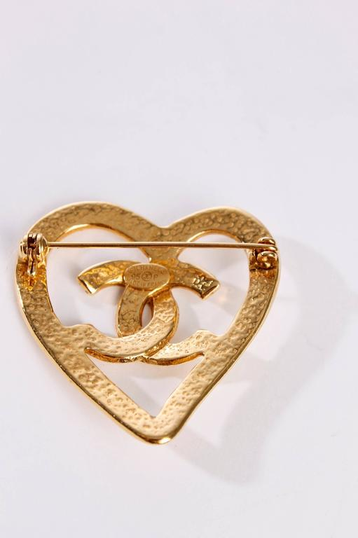 Chanel Broche - gold plated / heart 2