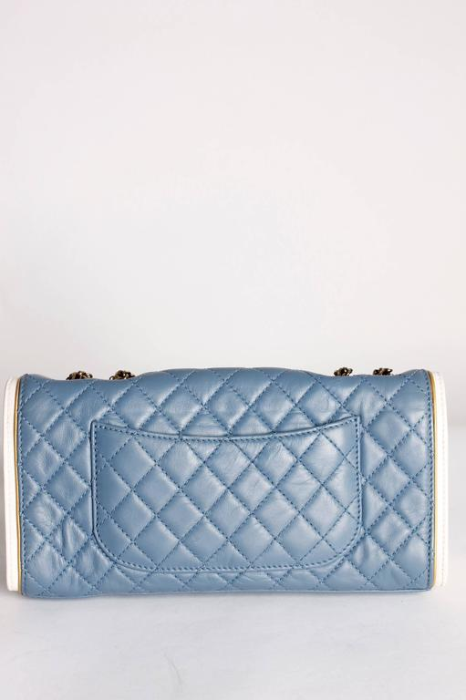 Chanel Baguette Bag - light blue/off-white/bronze In Good Condition For Sale In Baarn, NL