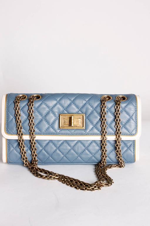 Gray Chanel Baguette Bag - light blue/off-white/bronze For Sale