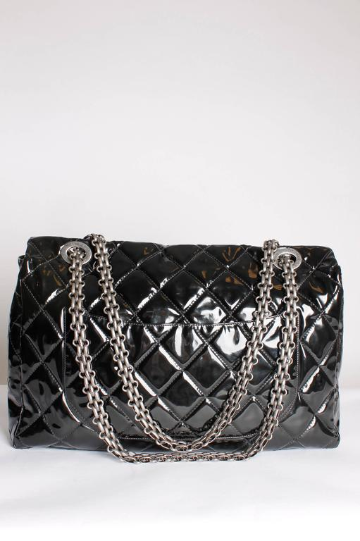Chanel Xxl Reissue Flap Bag Black Patent Leather At 1stdibs