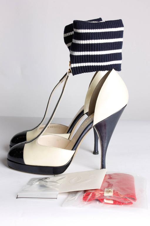 Black Chanel T Strap Ankle Cuff Pumps - dark navy blue/champagne patent leather For Sale