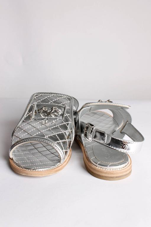 Chanel Sandals Quilted Leather - silver 2