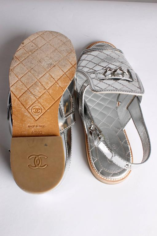 Chanel Sandals Quilted Leather - silver 3