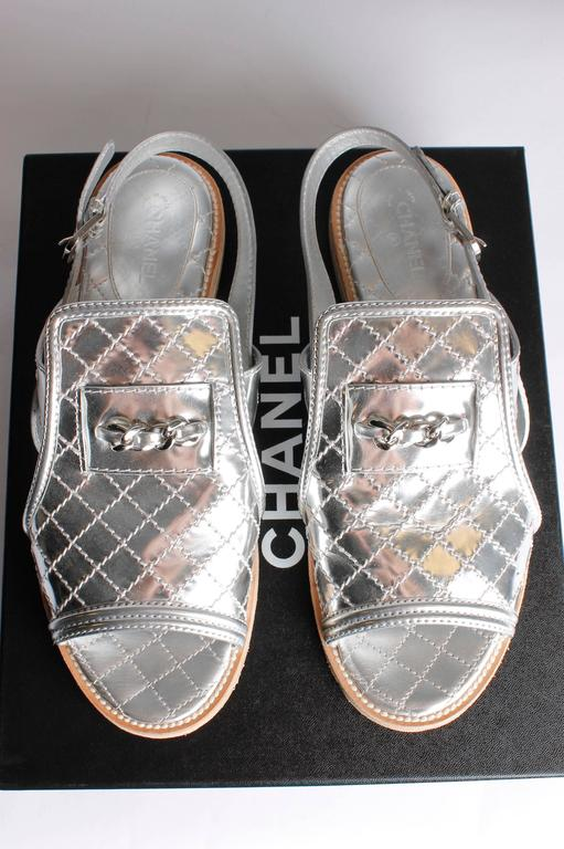 Chanel Sandals Quilted Leather - silver 4