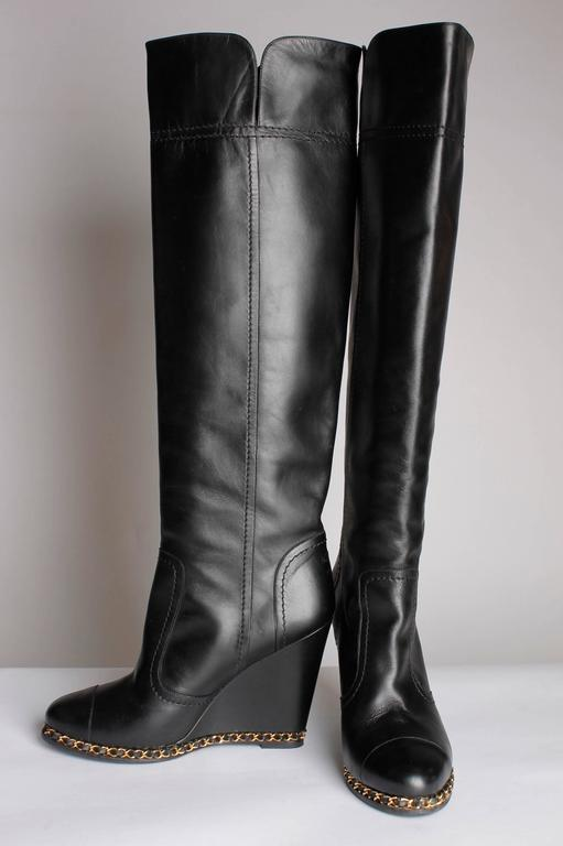 d2d44a0c76d Chanel Chain Wedge Overknee Boots - black In Excellent Condition For Sale  In Baarn