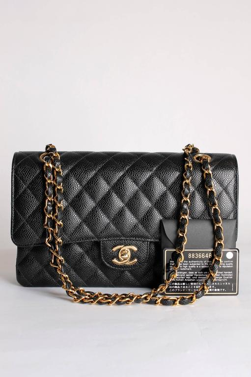 Black Chanel 2.55 Caviar Medium Classic Double Flap Bag - black/gold For Sale