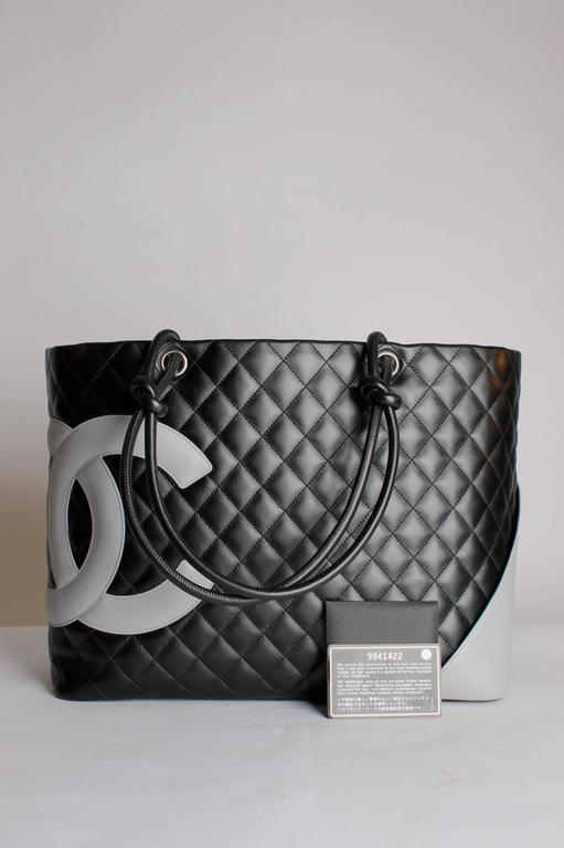 17b685e38 Black Chanel Ligne Cambon Quilted Extra Large Tote - grey/black leather For  Sale