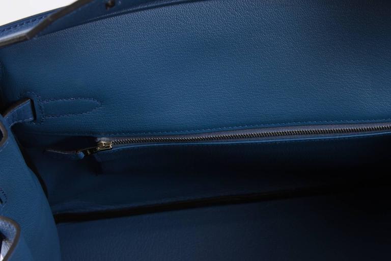 4a5465b987e1 Hermès Birkin Bag 35 Blue Agate Clemence - silver hardware at 1stdibs