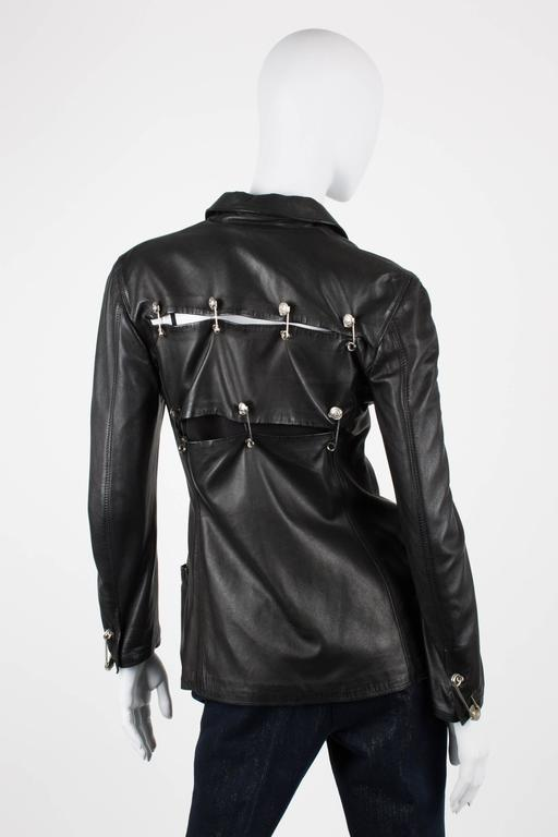 Gianni Versace 1994 Jacket Safety Pins Black Leather For