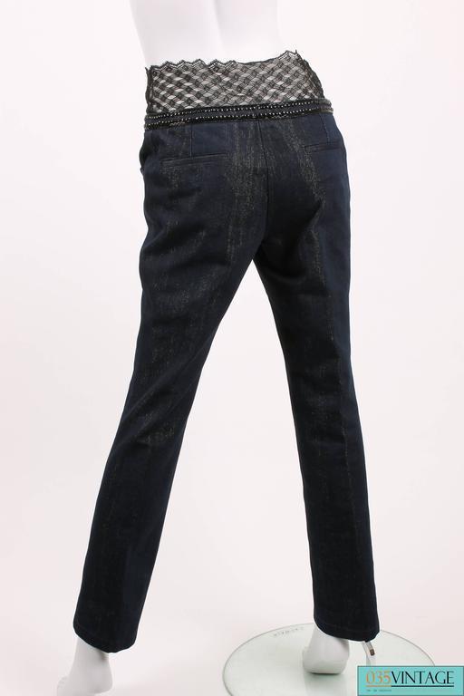 Chanel Jeans Denim Pants - blue/gold & black lace 3