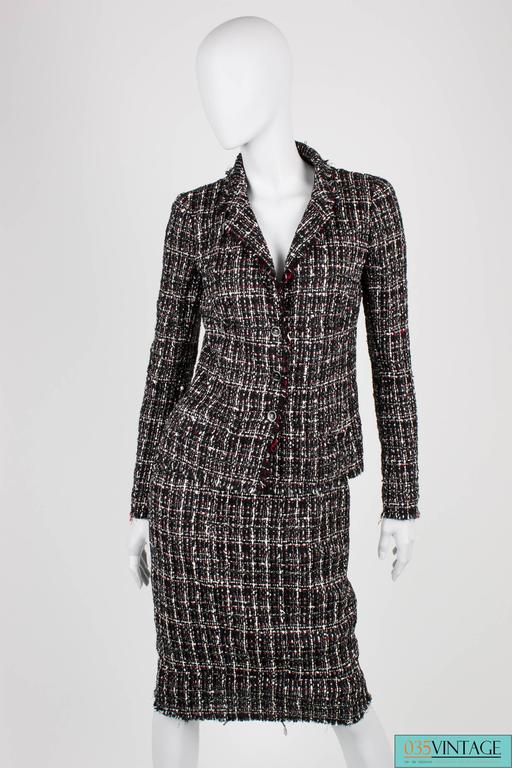 Chanel Suit 3 Pcs Jacket Skirt And Tie Black White Grey Red For