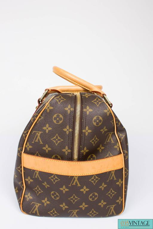 Brown Louis Vuitton Carry All Weekend Bag - brown canvas/beige leather For Sale