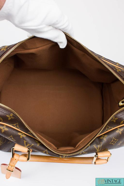 Louis Vuitton Carry All Weekend Bag - brown canvas/beige leather In Excellent Condition For Sale In Baarn, NL