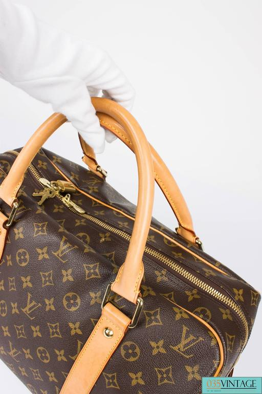 Louis Vuitton Carry All Weekend Bag - brown canvas/beige leather For Sale 1