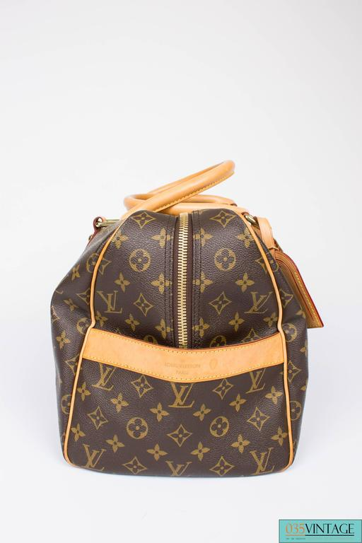 Louis Vuitton Carry All Weekend Bag - brown canvas/beige leather For Sale 2