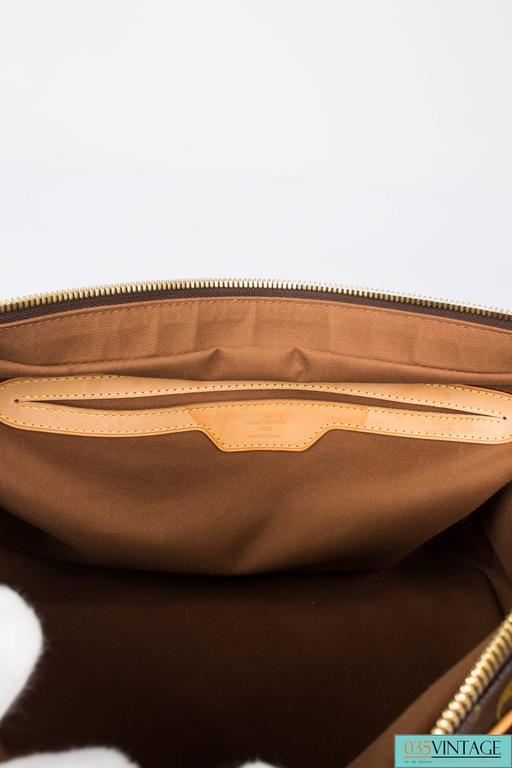 Louis Vuitton Carry All Weekend Bag - brown canvas/beige leather For Sale 3