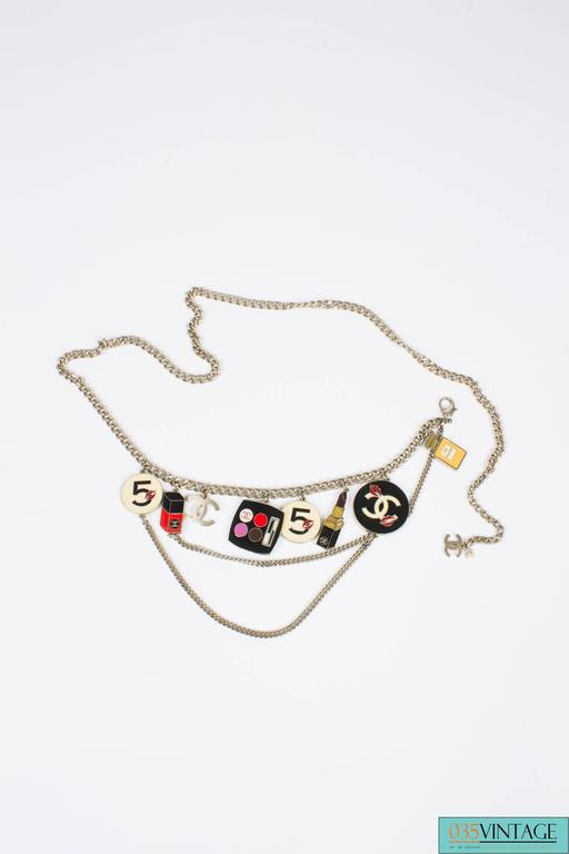 Chanel Enamel Charm Belt Necklace Make-up - silver 3