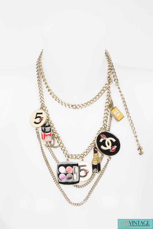 Chanel Enamel Charm Belt Necklace Make-up - silver 2