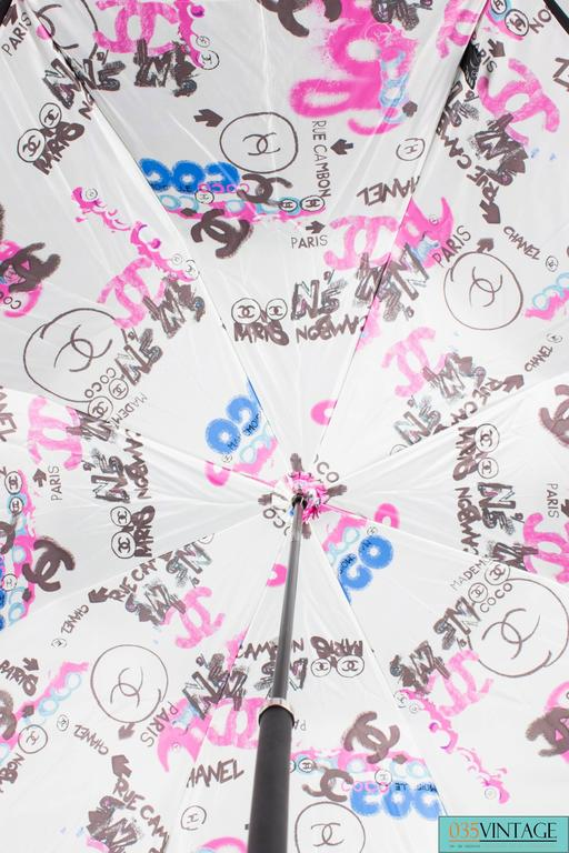 Women's or Men's Chanel Logo Grafitti Print Umbrella - black/blue/pink/white For Sale