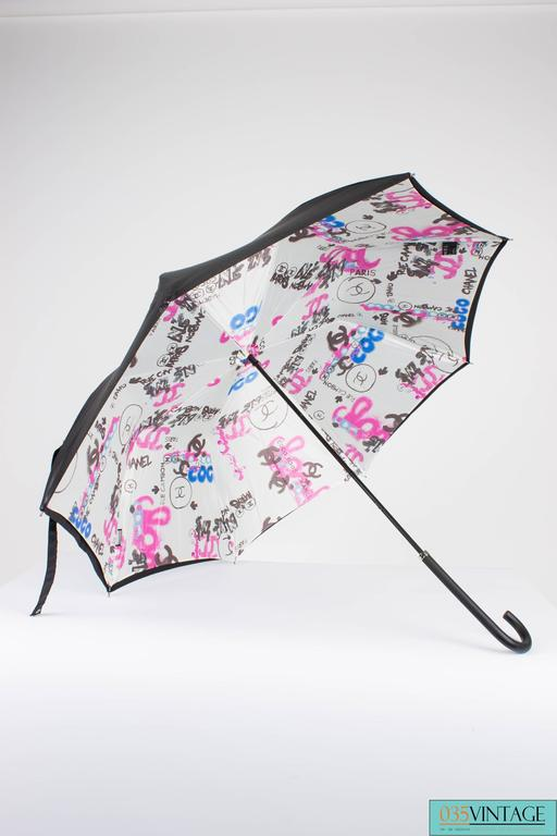 Chanel Logo Grafitti Print Umbrella - black/blue/pink/white For Sale 1