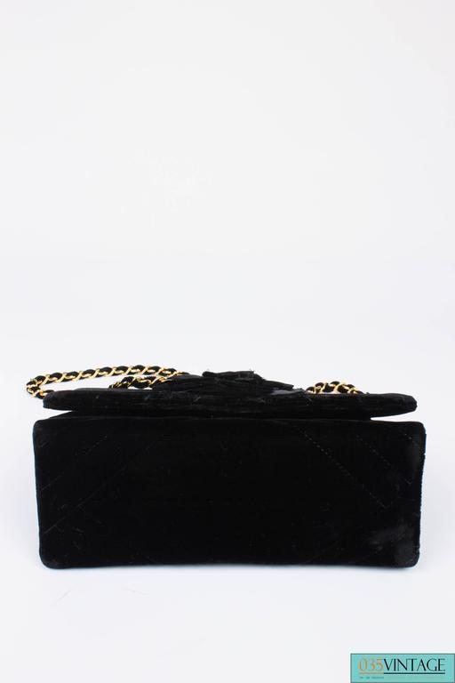 Chanel Velvet Camellia Mini Flap Bag Black Velvet Gold