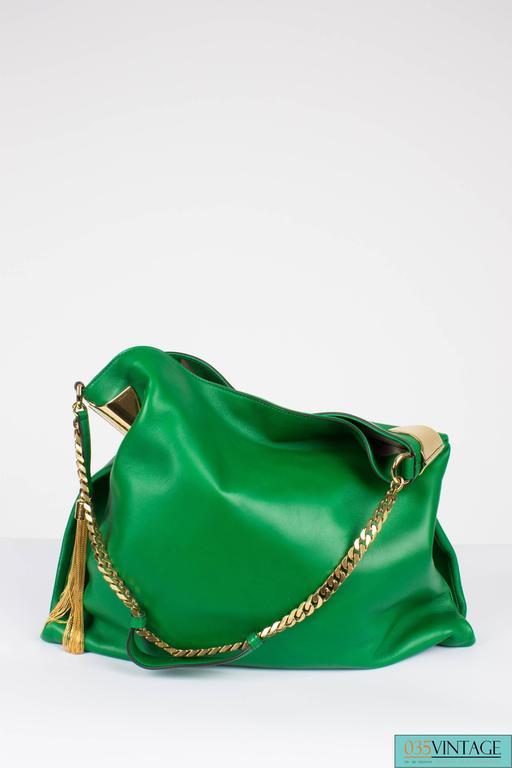 Women's Gucci 1970 Medium Shoulder Bag - green leather/gold For Sale