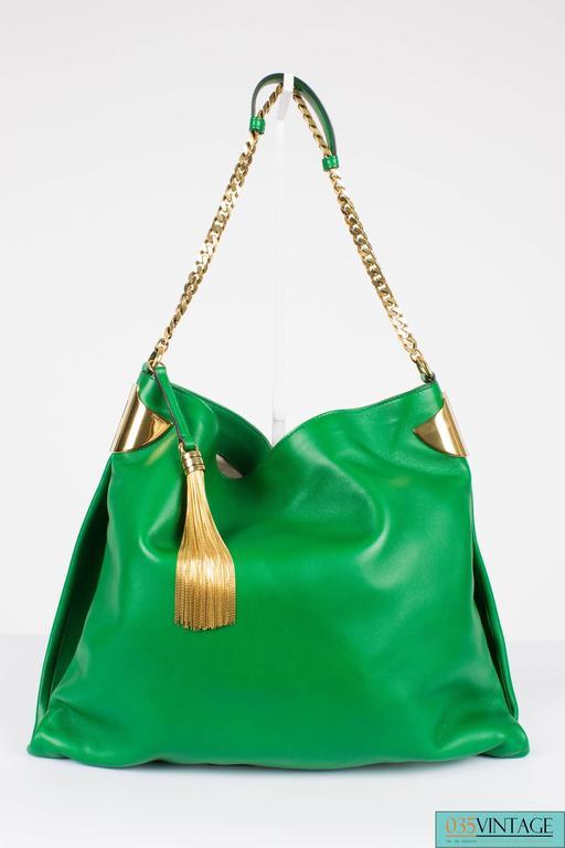 Gucci 1970 Medium Shoulder Bag - green leather/gold For Sale 3