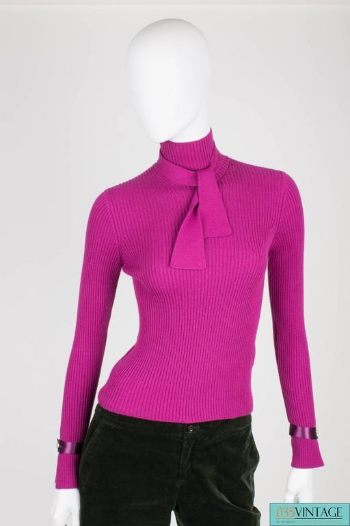 Chanel Turtle Neck Cashmere Sweater - purple For Sale 2