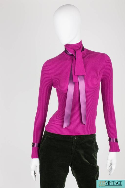 Chanel Turtle Neck Cashmere Sweater - purple For Sale 3