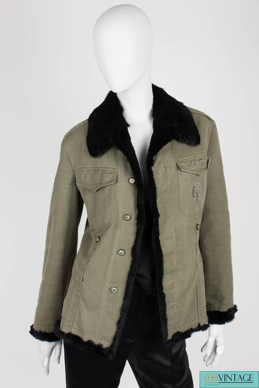 Gray Philipp Plein Jacket - army green/black fur For Sale