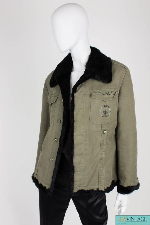 Philipp Plein Jacket - army green/black fur In Excellent Condition For Sale In Baarn, NL
