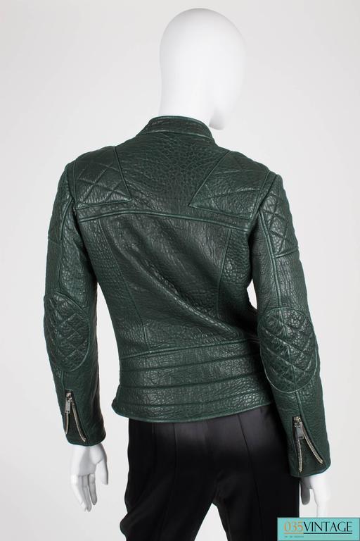 Women's Very rare deep forest green shrunken kangaroo leather biker jacket designed by P For Sale