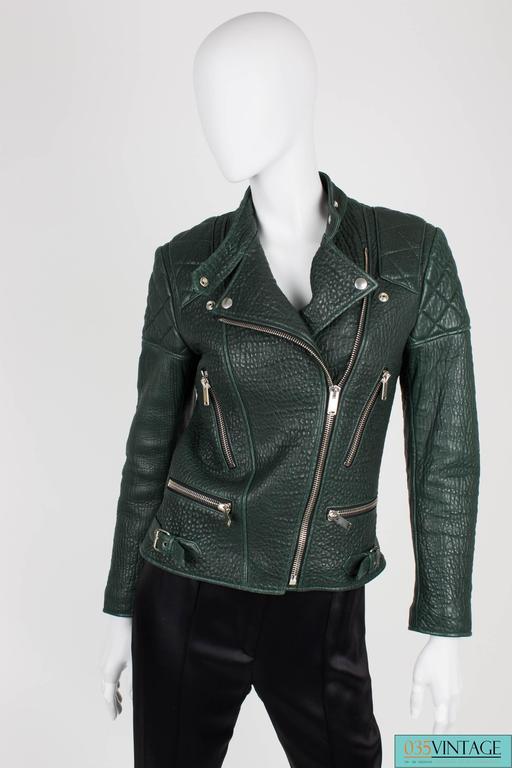 Very rare deep forest green shrunken kangaroo leather biker jacket designed by P For Sale 1