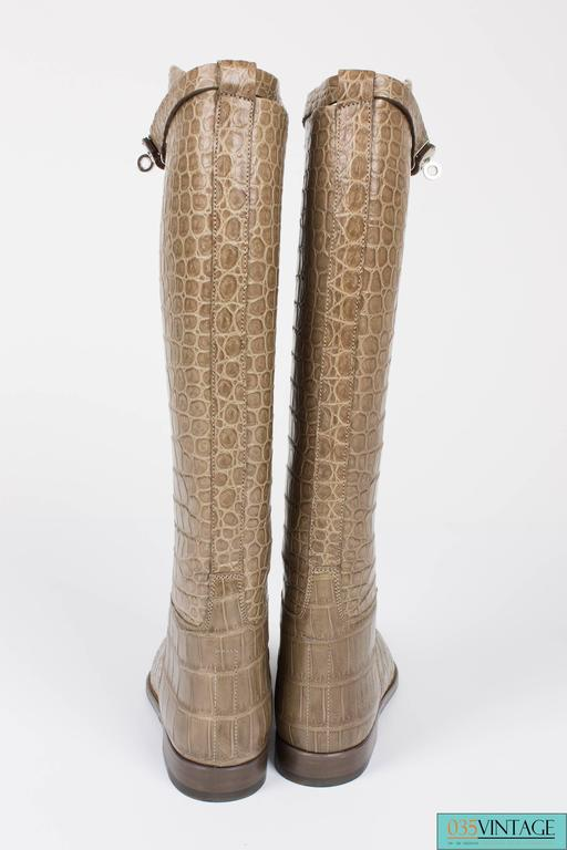 Hermes Jumping Riding Boots Alligator Kelly Taupe