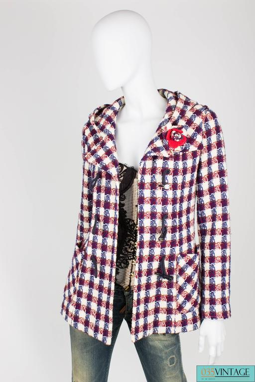 Chanel Checkered Jacket - red/white/blue For Sale 1