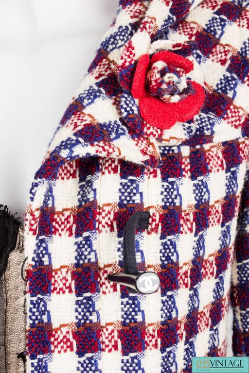 Chanel Checkered Jacket - red/white/blue For Sale 2