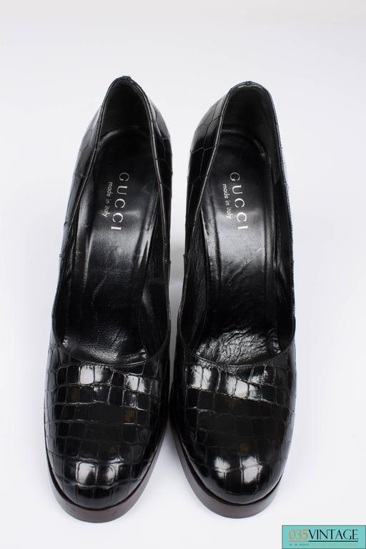 Gucci Alligator Croco Leather Pumps - black 3