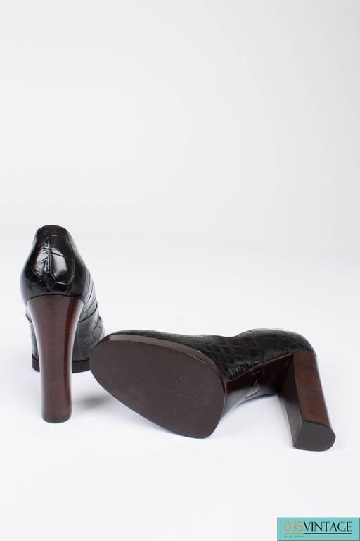 Gucci Alligator Croco Leather Pumps - black 4