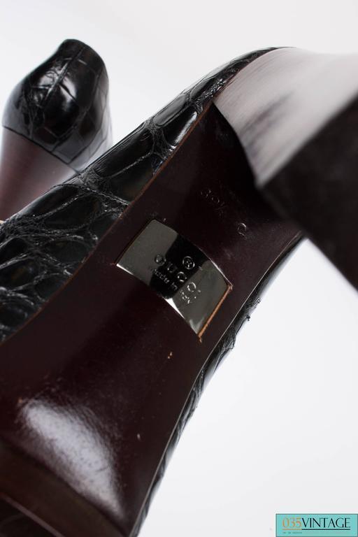 Gucci Alligator Croco Leather Pumps - black 5