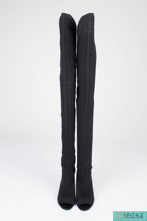 Gianvito Rossi Heeled Knit Thigh-high Boots - black 2016 2
