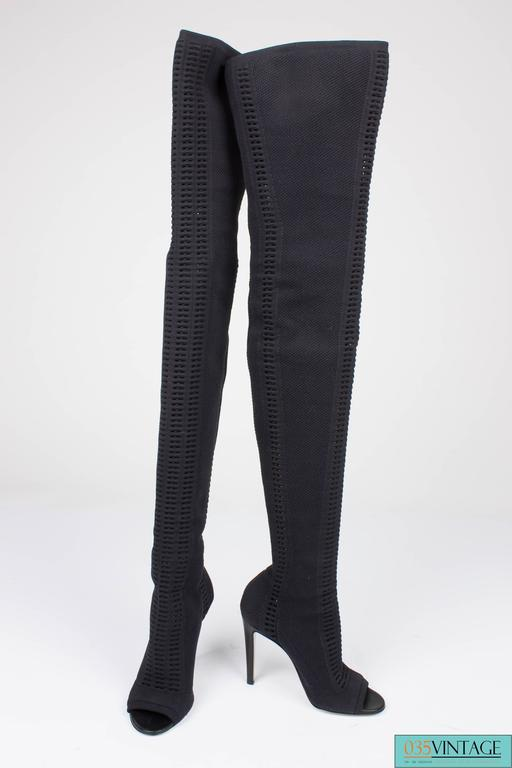 Gianvito Rossi Heeled Knit Thigh-high Boots - black 2016 5