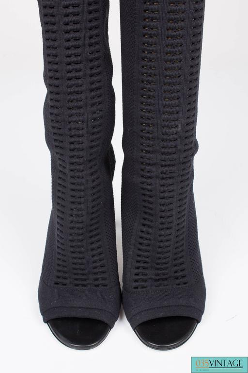 Gianvito Rossi Heeled Knit Thigh-high Boots - black 2016 6