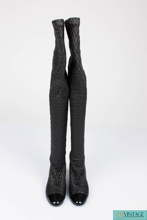 Chanel strech leather  Thigh-high Boots - black  For Sale 1