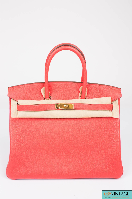 79a04ae6a2e Hermès Birkin Bag 35 Taurillon Clemence Rouge Pivoine - goldtone hardware  at 1stdibs