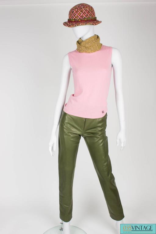 Chanel 4-pcs Suit Coat, Hat, Pants & Top - pink/green bouclé 2001 For Sale 1