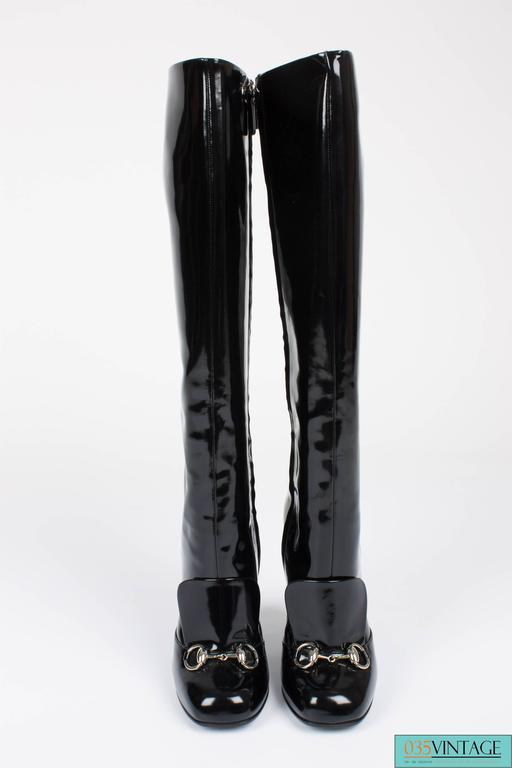 cb7be7e38 Black Gucci Lillian Horsebit Boots - black patent leather For Sale