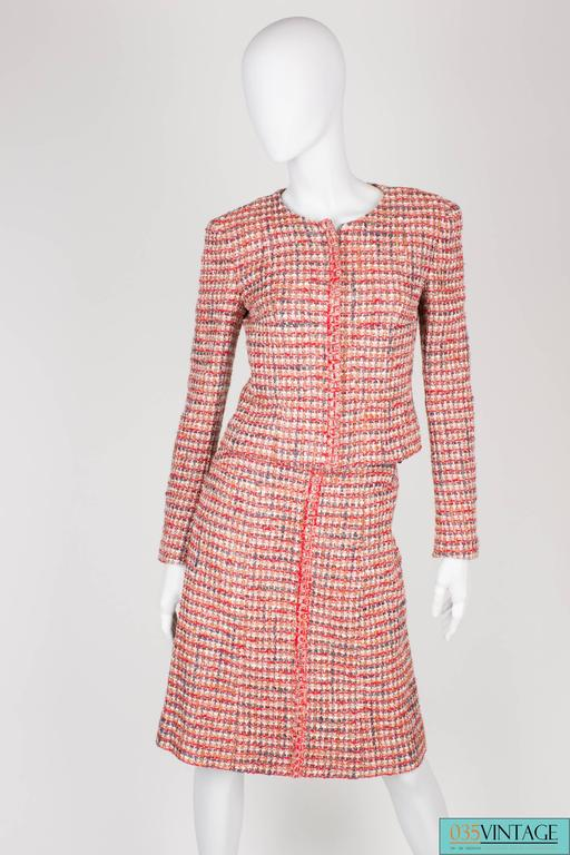 Brown Chanel 3-pcs Suit Jacket, Skirt & Top - red/gray/pink/white 2003 For Sale