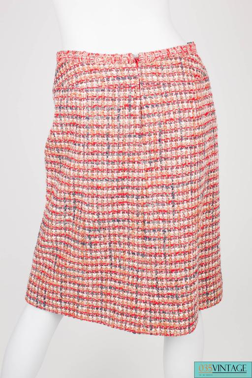 Chanel 3-pcs Suit Jacket, Skirt & Top - red/gray/pink/white 2003 For Sale 4