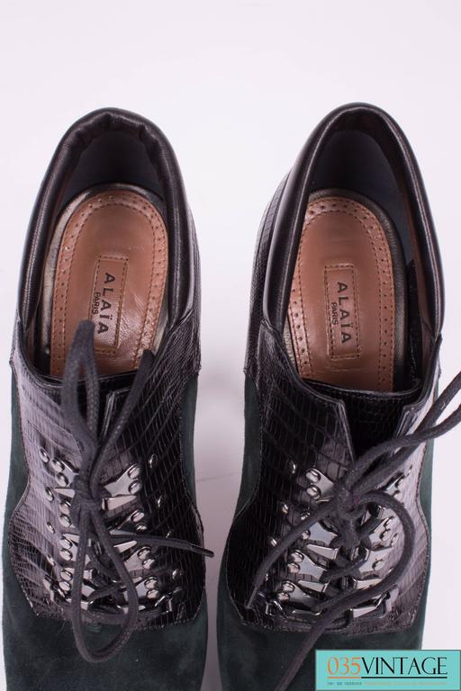 Alaia High Heeled Lace Up Shoes Green Black For Sale At