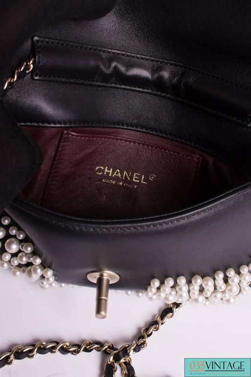 Chanel Pearly Flap Bag Cross Body WOC Wallet on Chain - black 3